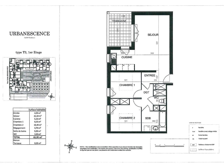 Appartement T3 - 61 m² - TOULOUSE PONTS JUMEAUX