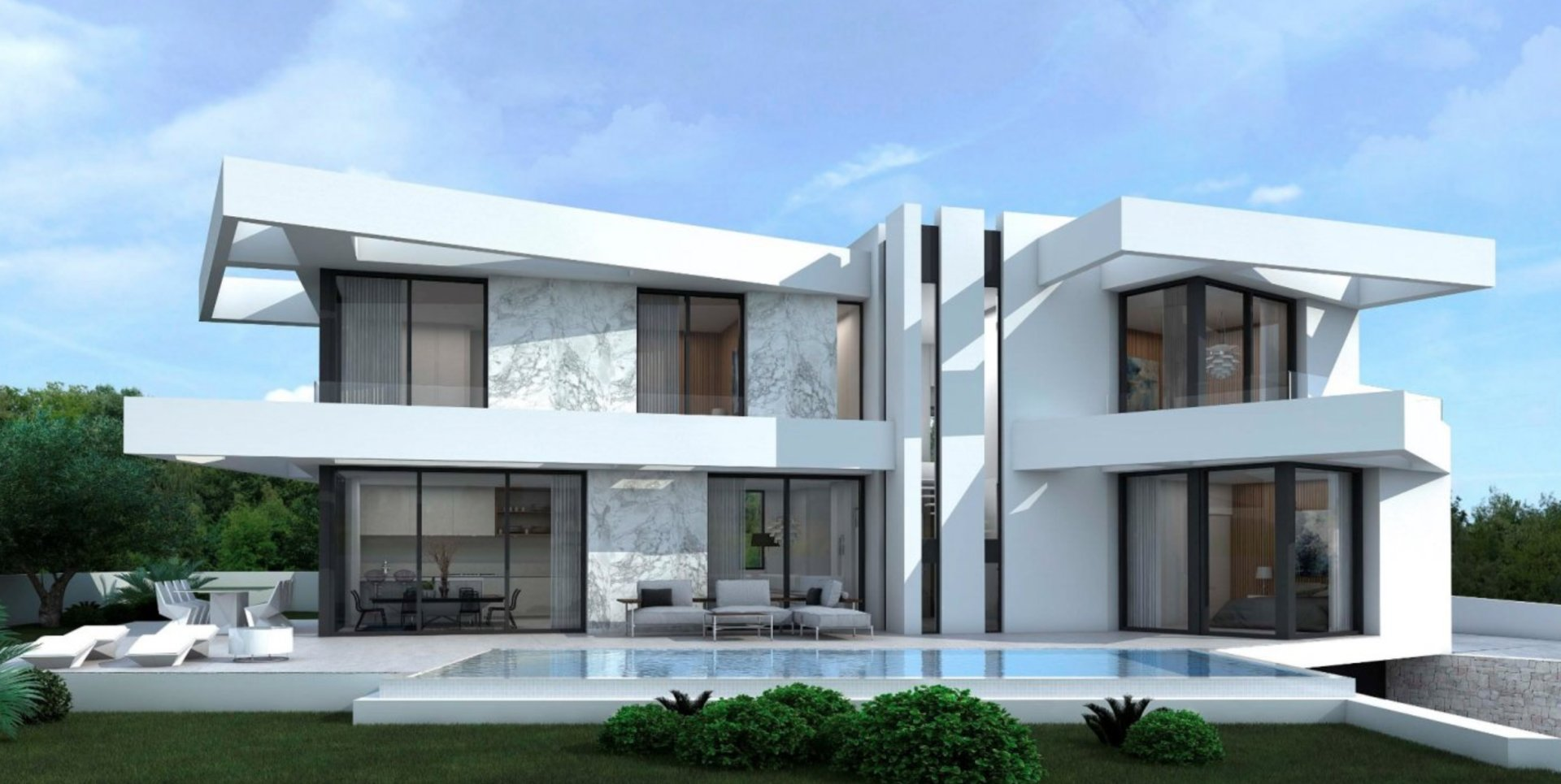 Large ultra modern villa with sea views