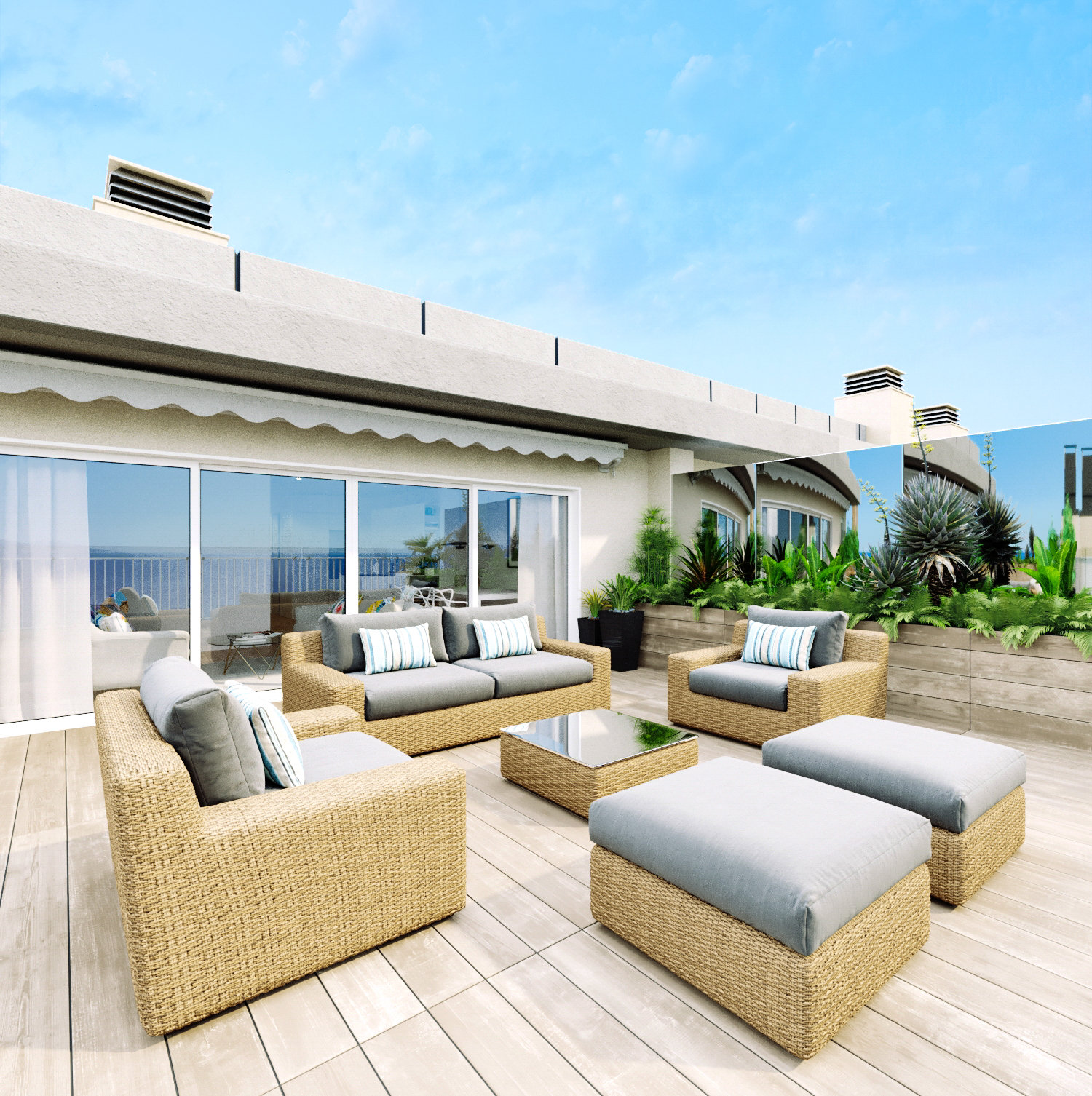 Cannes Waterfront 3-Bedroom Apartment with Rooftop