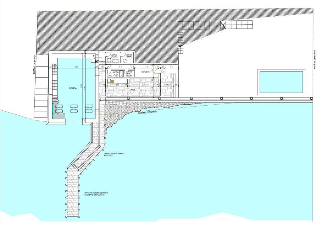 Villa d'epoca pieds dans l'eau in vendita a Ghiffa - progetto darsena