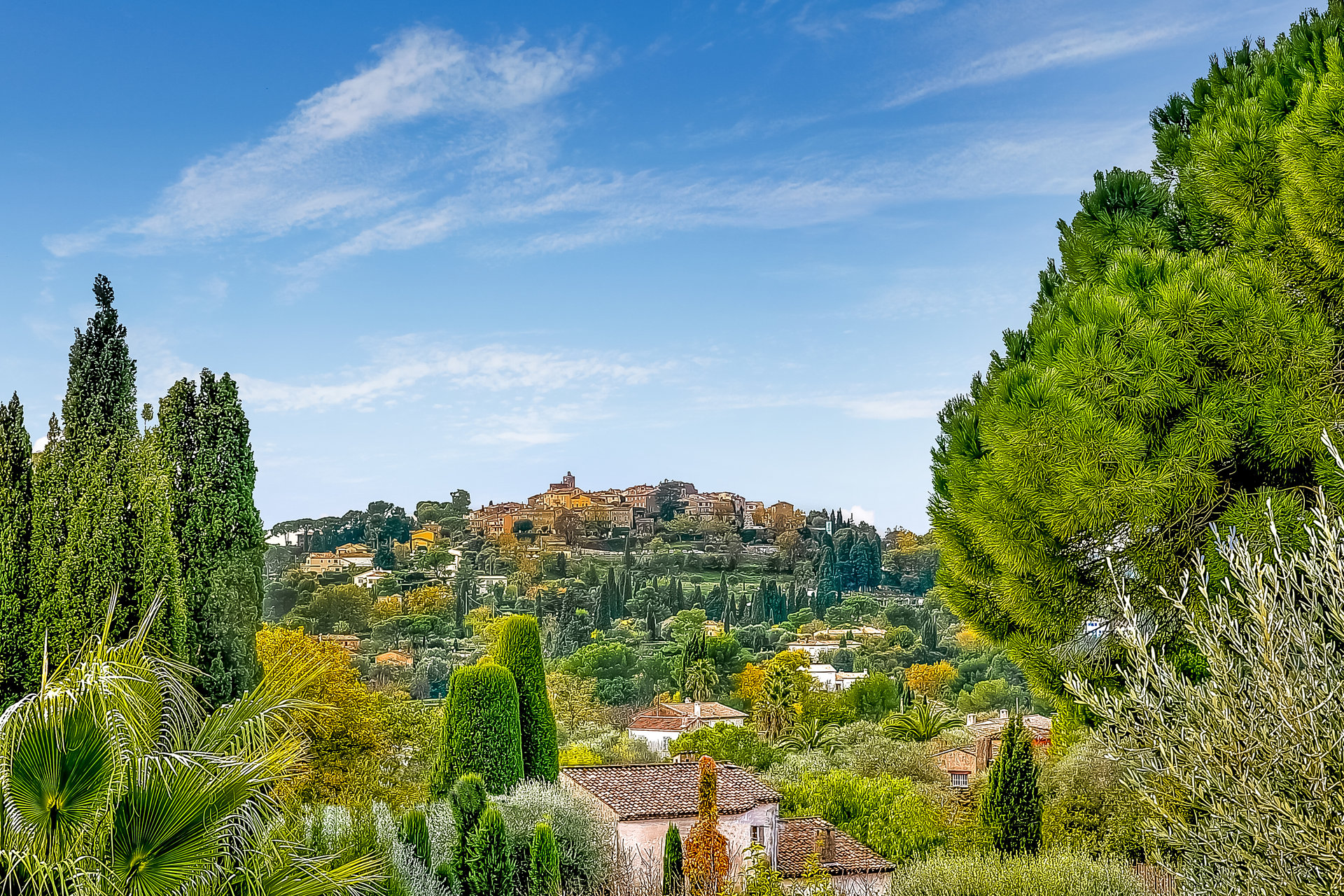 MOUGINS – VILLAGE VIEW AND GLIMPSE TO THE SEA