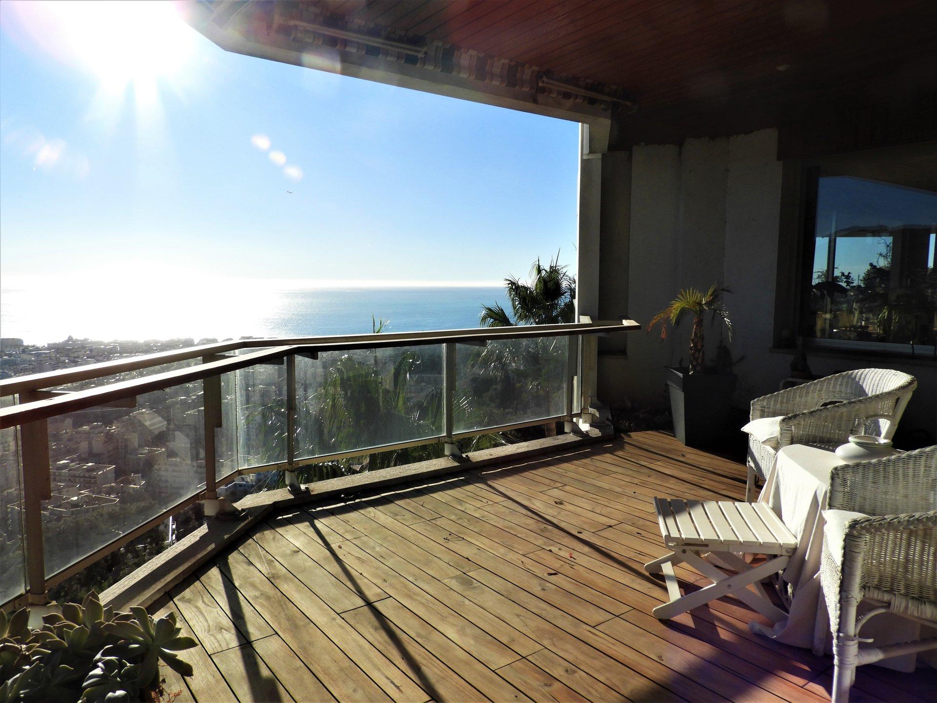 Nice Hauteurs Parc Impérial - Penthouse 5 pièces vue mer panoramique
