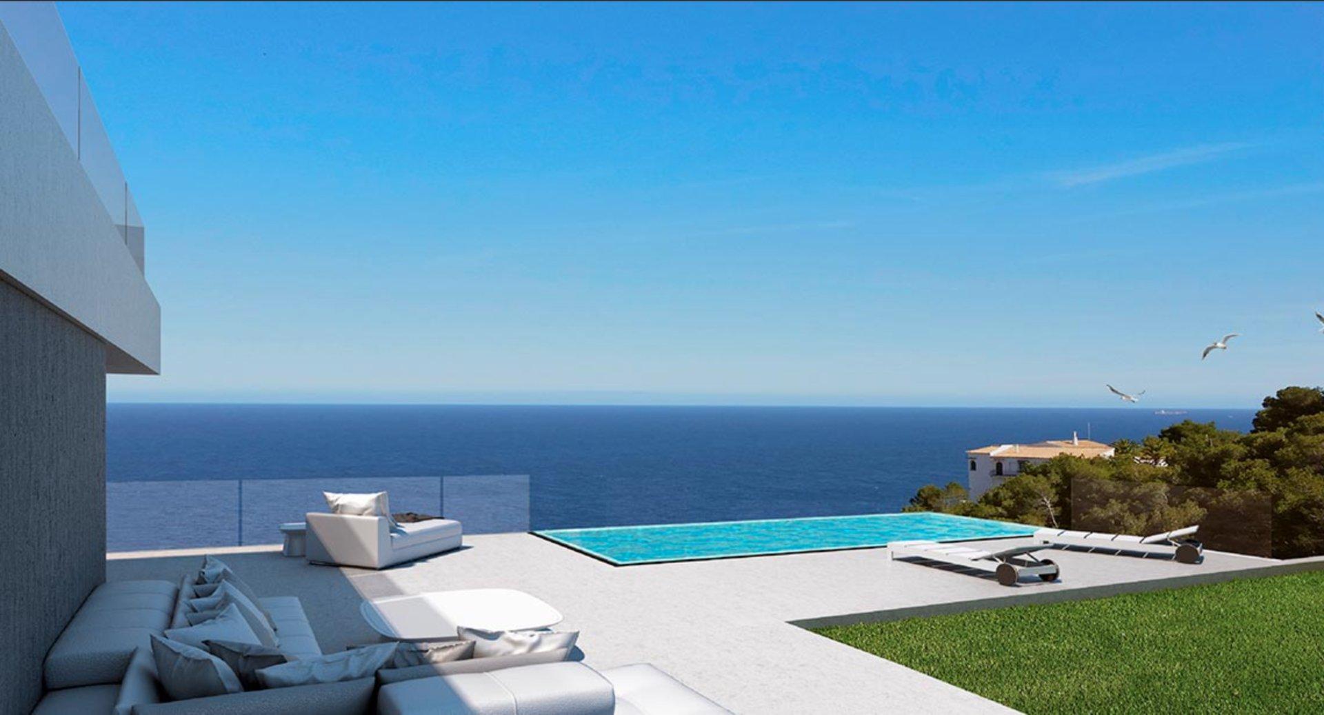 Mediterrane moderne villa met panoramisch uitzicht op zee