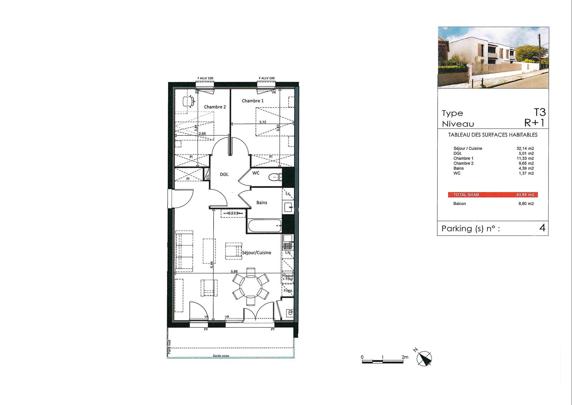 Appartement T3 - 64m² - 31100 TOULOUSE LARDENNE