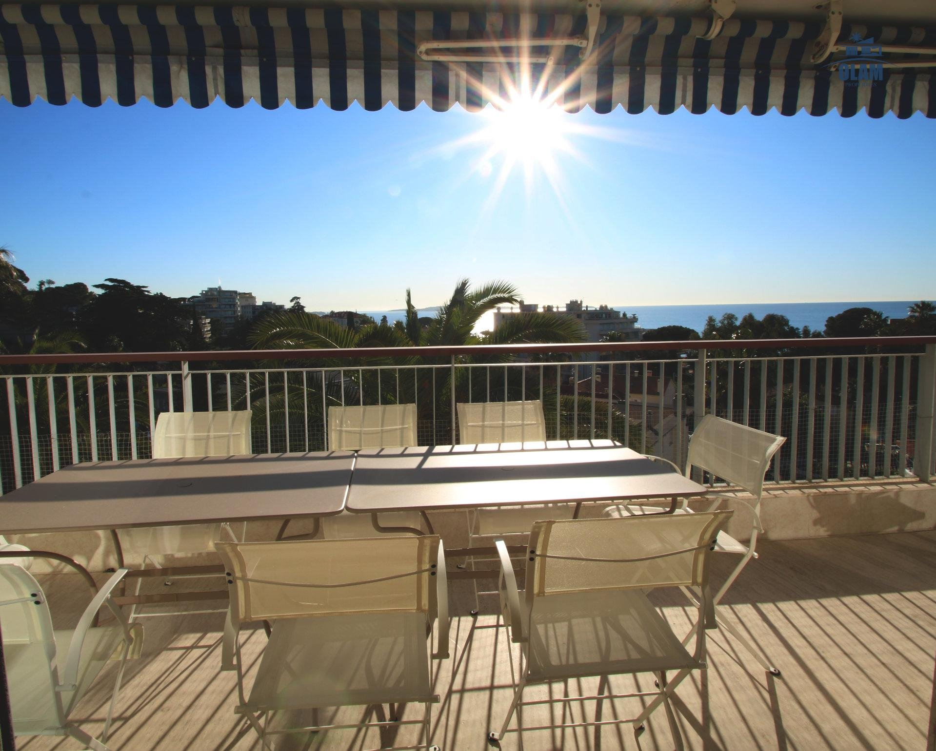 Cannes, seasonal rental, panoramic sea view, terrace, French Riviera