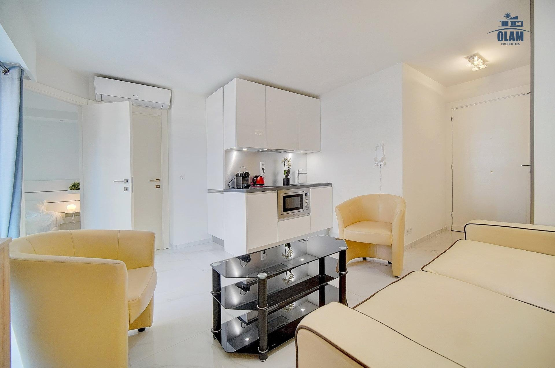 Living room, opening kitchen, Cannes, Croisette, seasonal rental