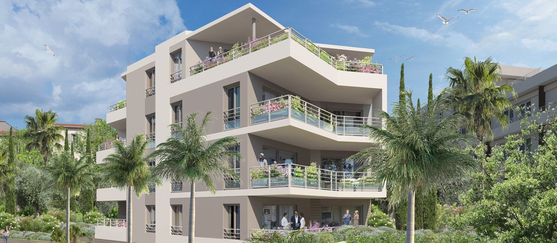 LE CANNES 3P, 89,74 m2, terrace 34,88 m2.