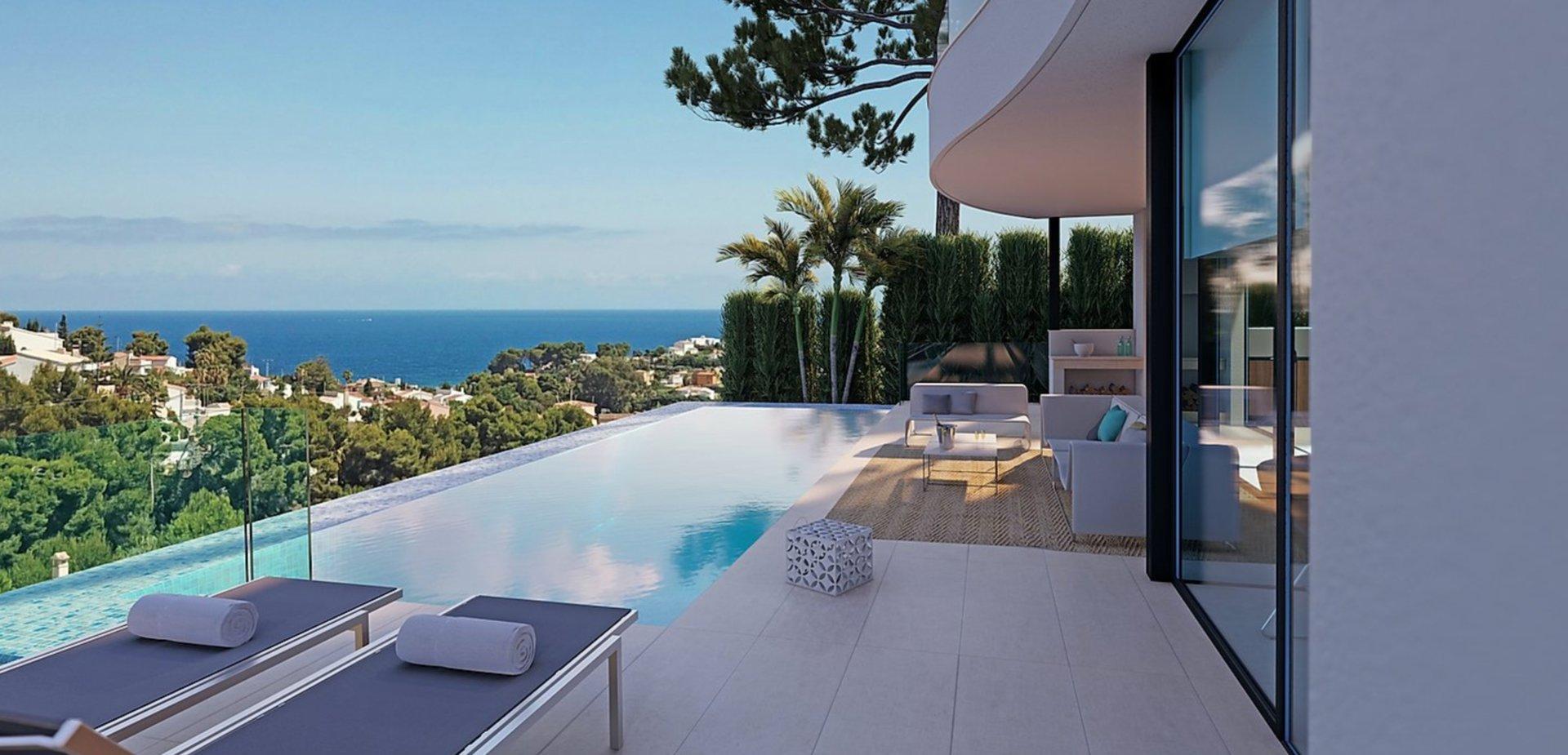 Villa neuve avec 4 chambres et vue mer