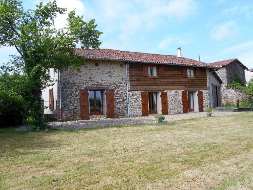 4 bedroom stone house, outbuildings, above ground pool and land