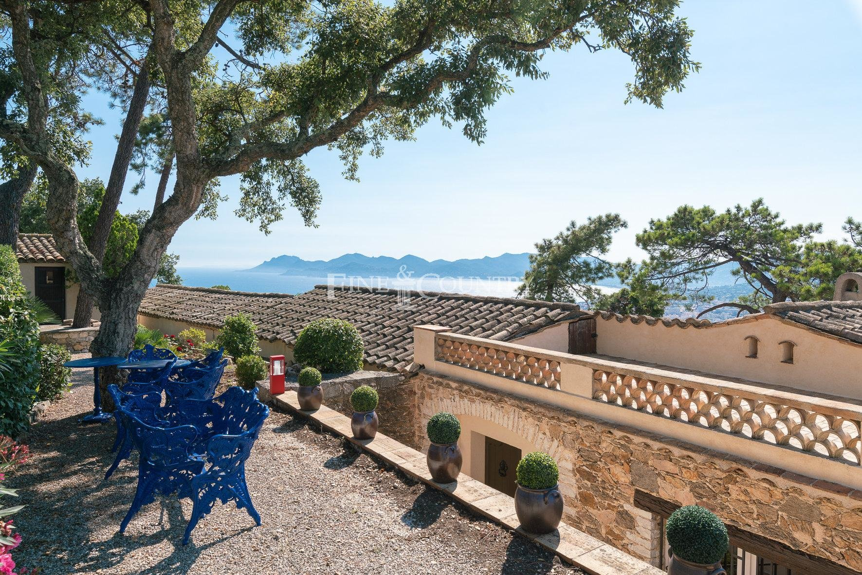 Authentic Stone Mas Villa with Panoramic Sea View Villa For Sale in Cannes, La Californie, France