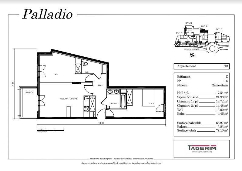 Beau 3P de 66m² + Balcon + 2 places de parking