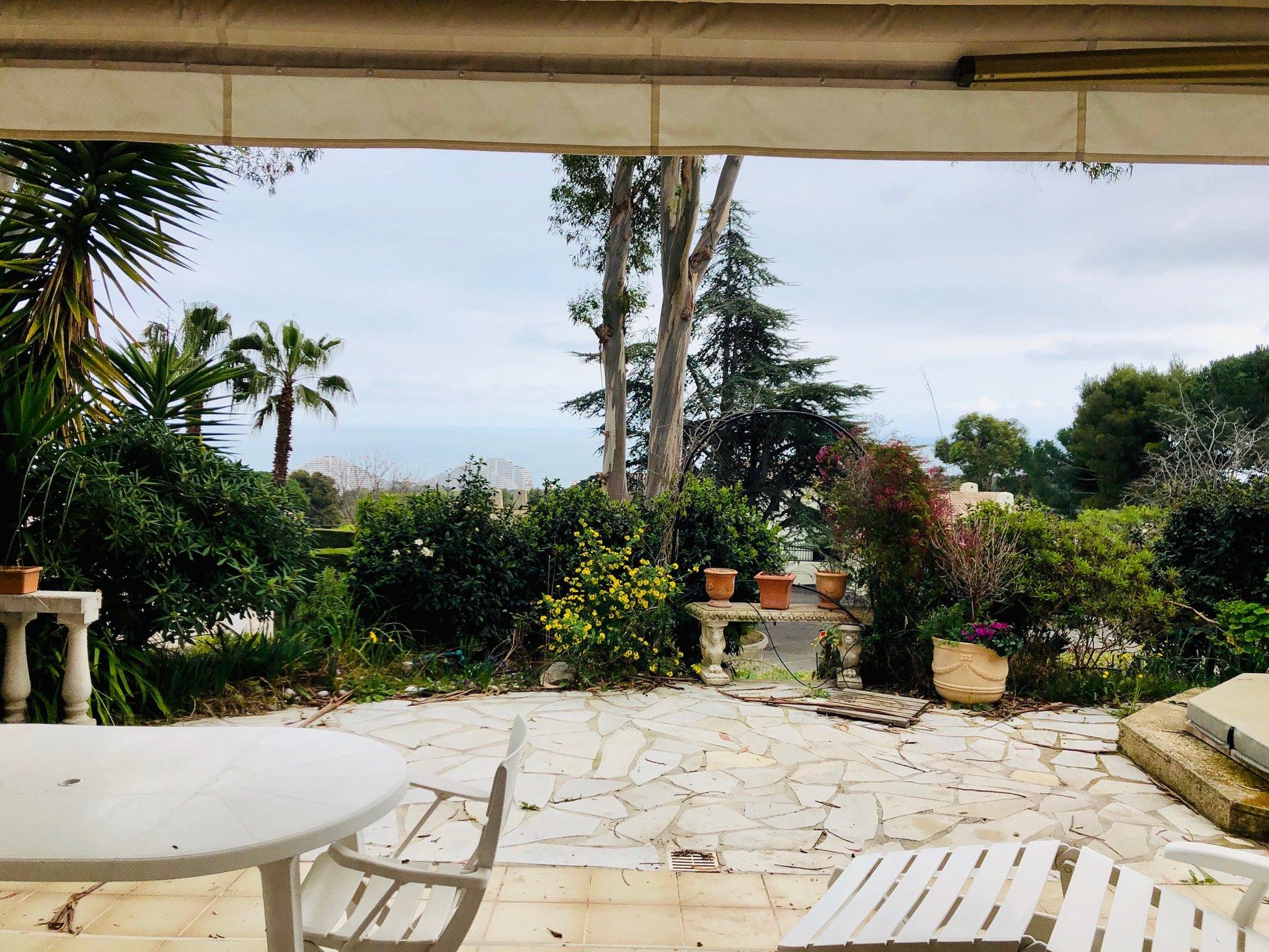 VENDU ! belle vue mer 3 pièces rez-de-jardin 80m2 terrasse