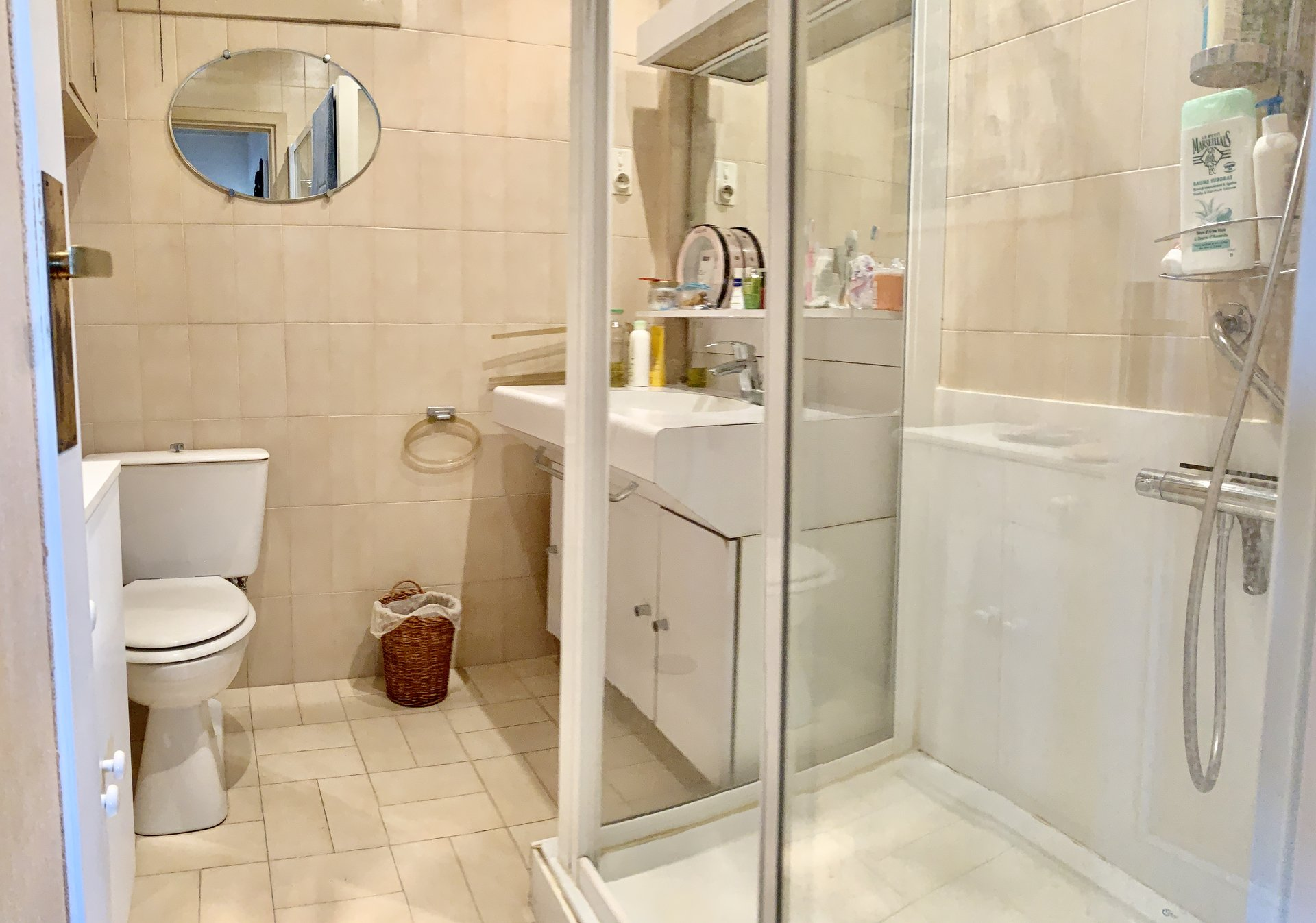shower with sink and wc