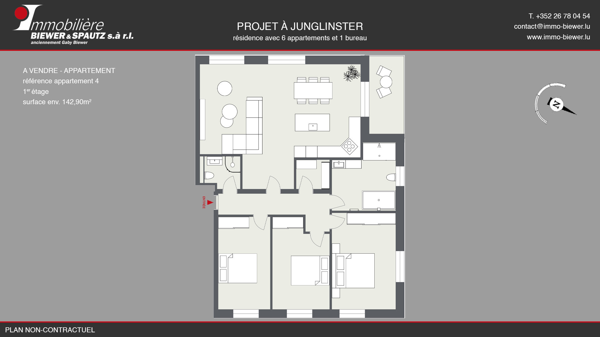 TO SELL - appartment with 3 bedrooms in Junglinster