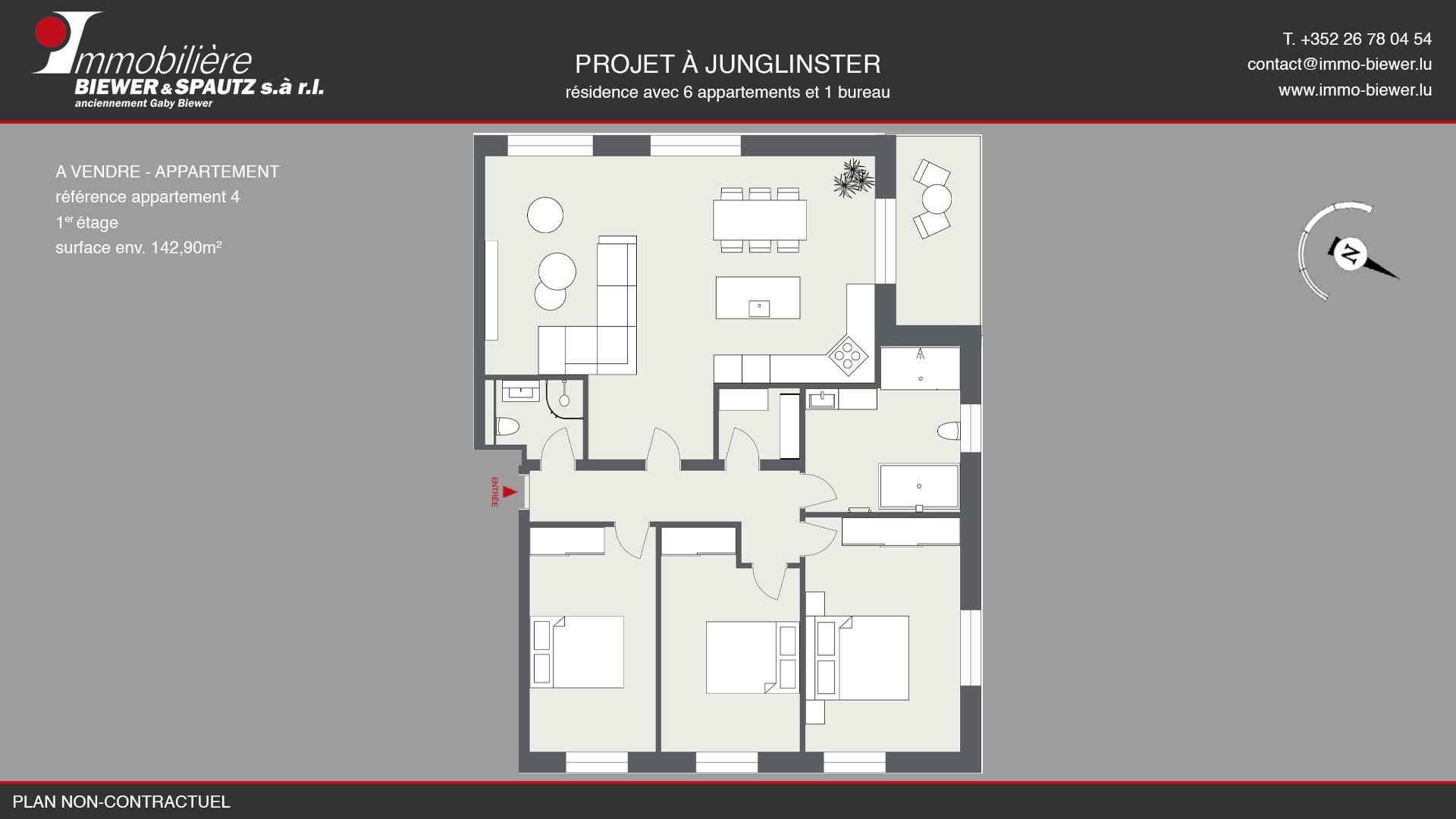 SOUS COMPROMIS - Appartement avec 3 chac à Junglinster