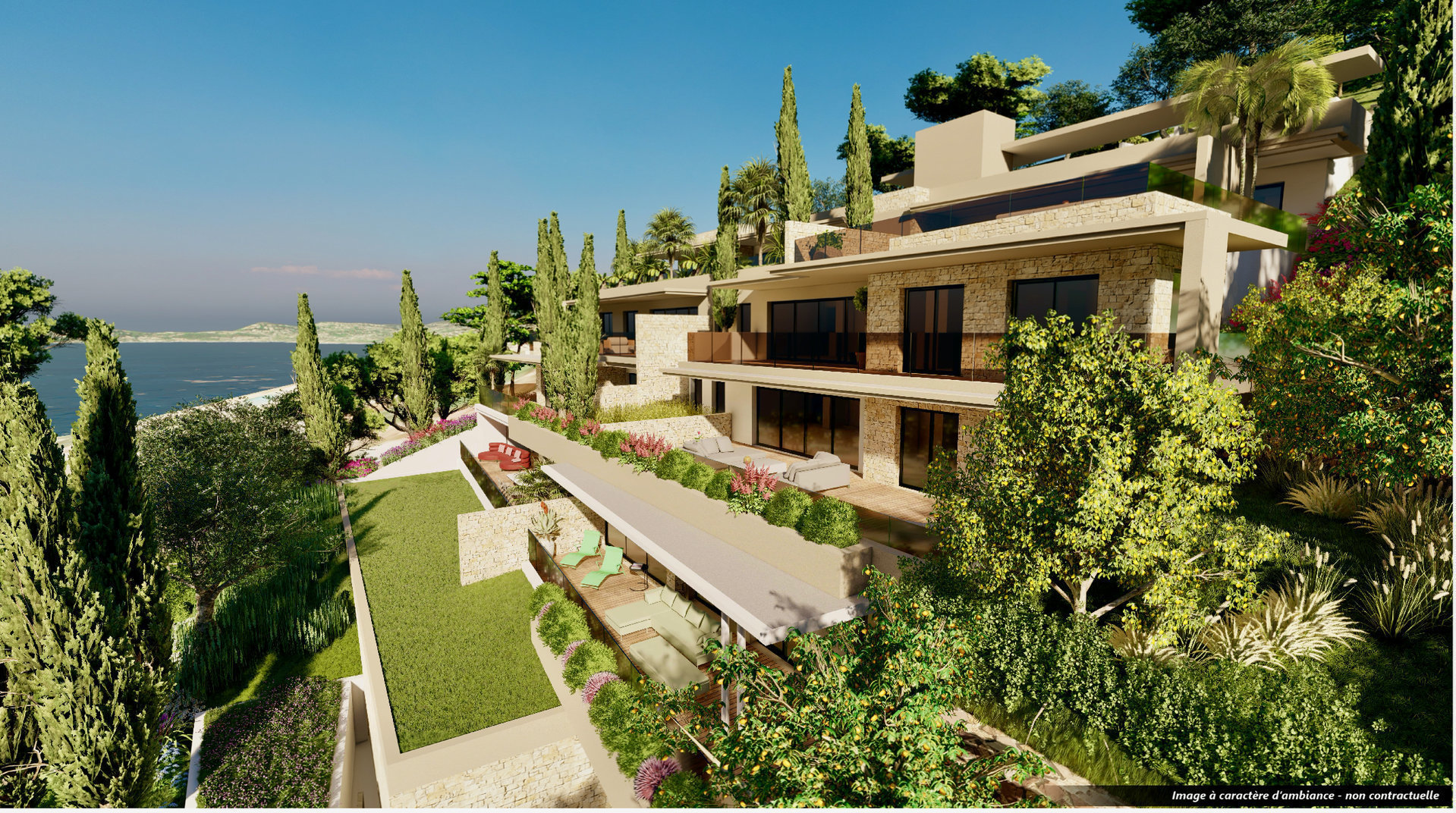 Les Issambres - 91,7 m2 living & 73,9 m2 terrace - New construction high standing apartment with great sea-view
