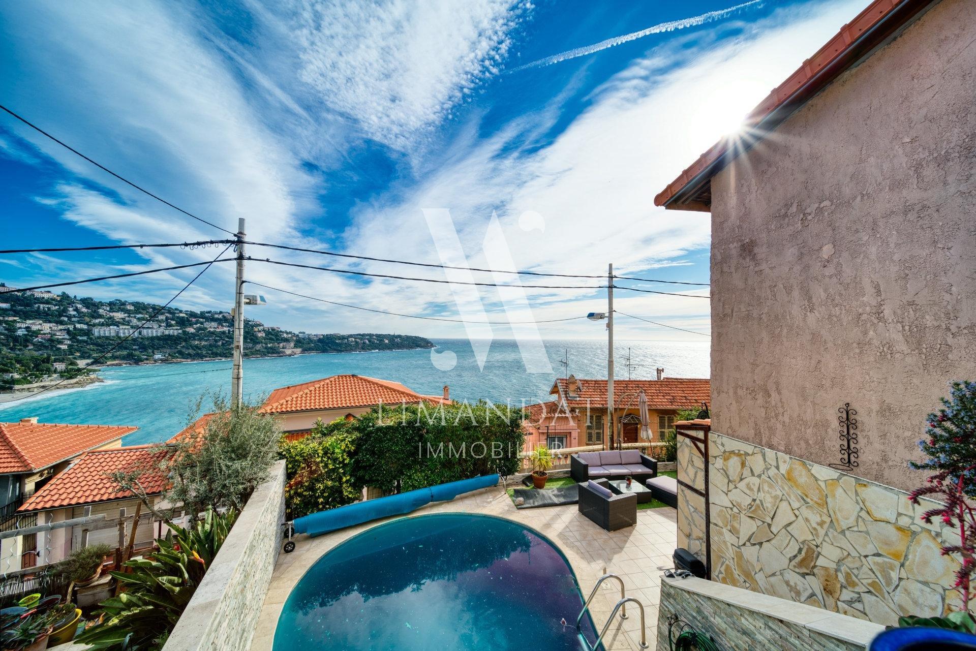Roquebrune Cap Martin - villa 149 m2 piscine vue mer