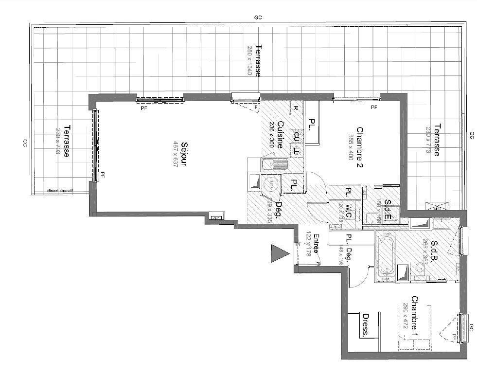 CANNES - 3-romsleilighet med 70m2 terrasse i nybyggrogram på Palm Beach. Garasje og heis