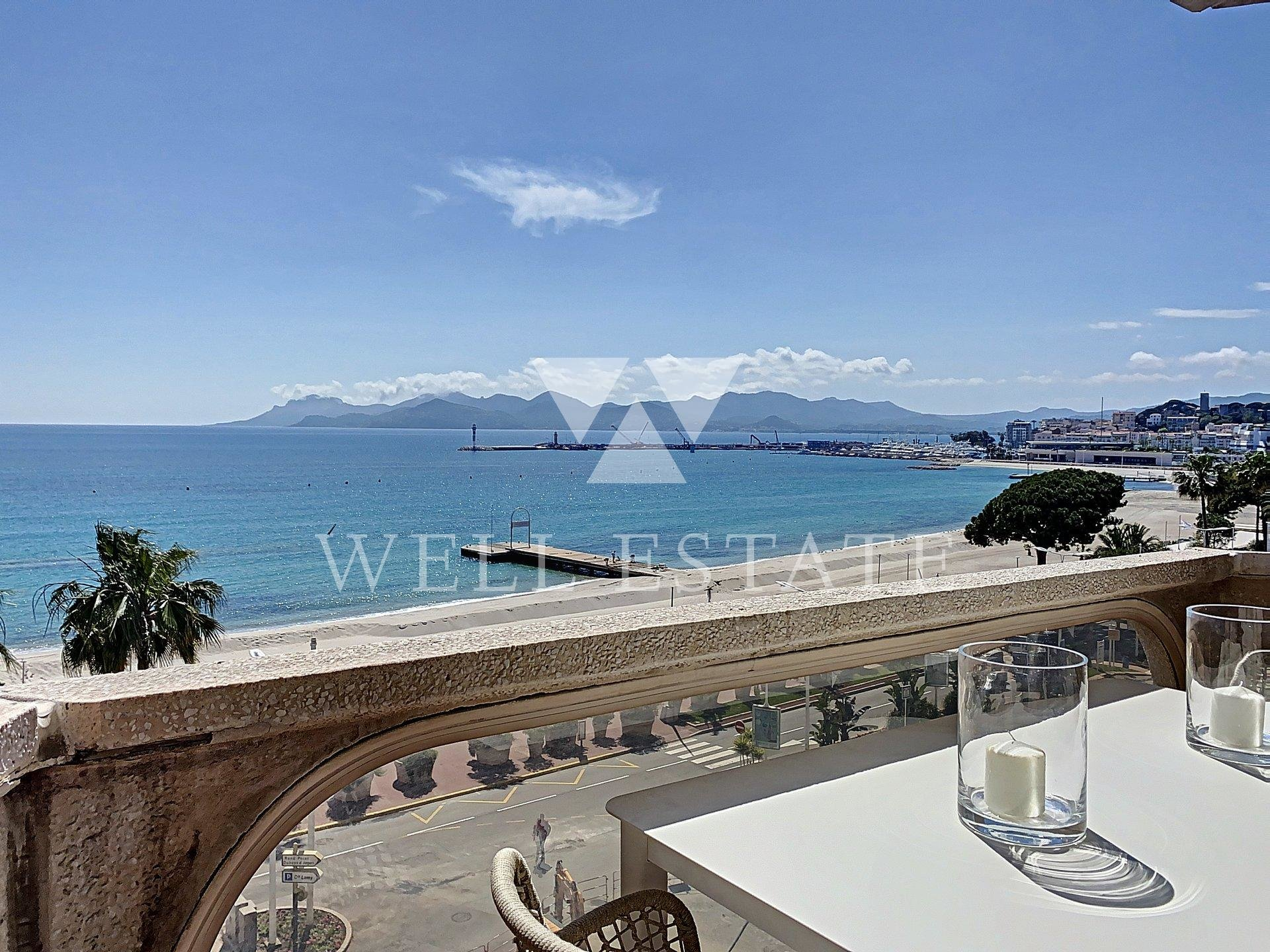 CANNES CROISETTE APARTMENT 95M2 2 BEDROOMS 2 TERRACES PANORAMIC SEA VIEW