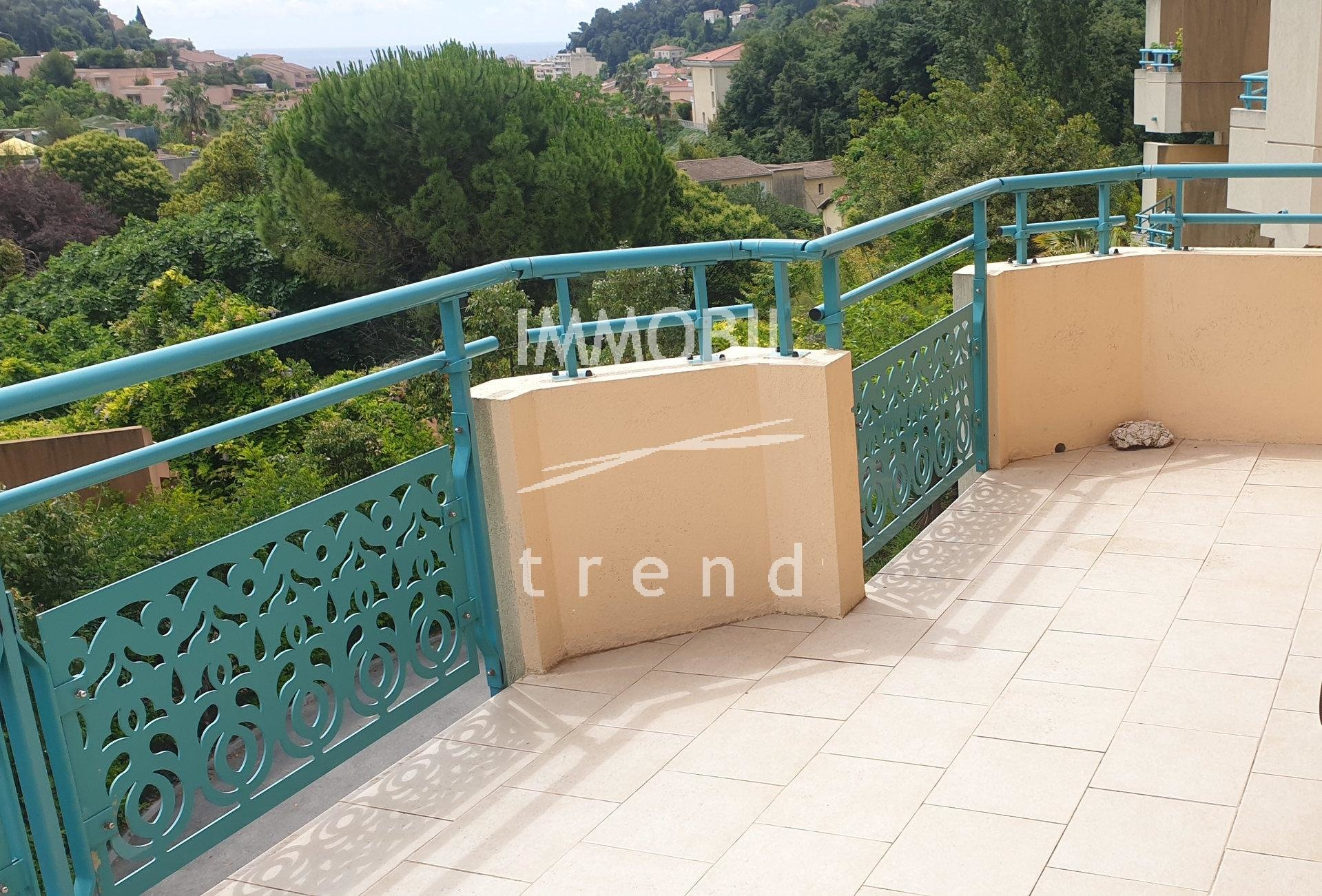 EXCLUSIVITE ROQUEBRUNE CAP MARTIN APPARTEMENT 3 PIECES AVEC TERRASSE GARAGE APERCU MER