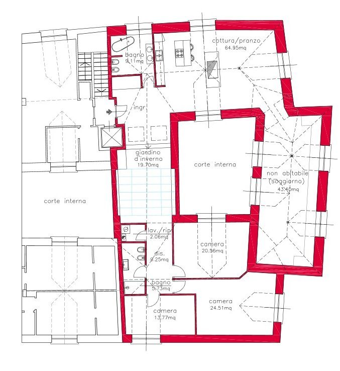 Renovated attic for sale on Verbania - floor plan