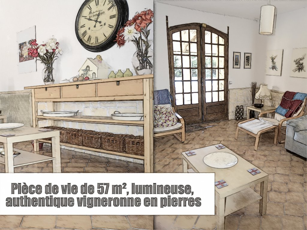 Vigneronne T6, garage, atelier, piscine, terrain 1360 m² - meublée