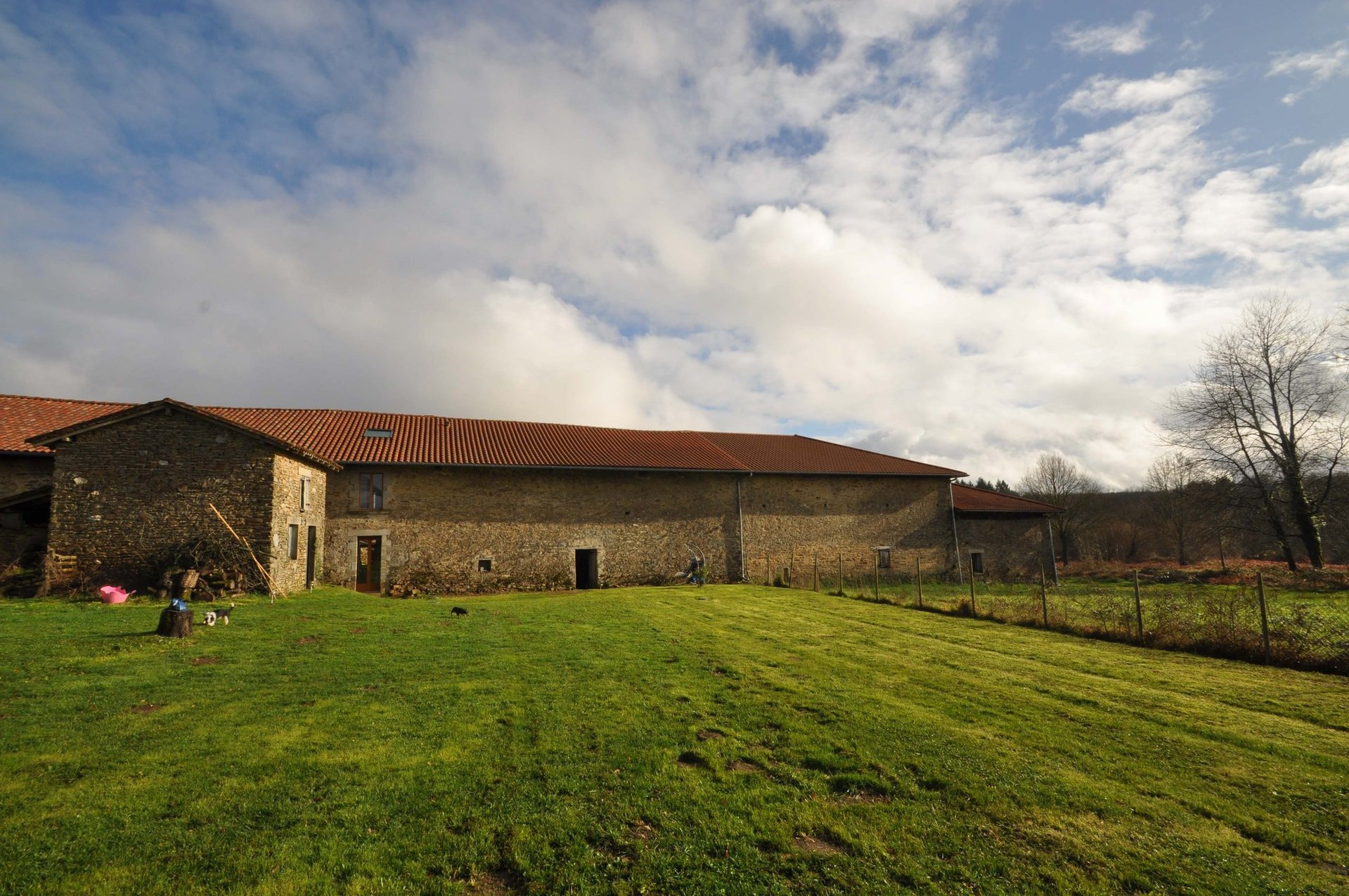 Stone house, huge barn and open views from garden