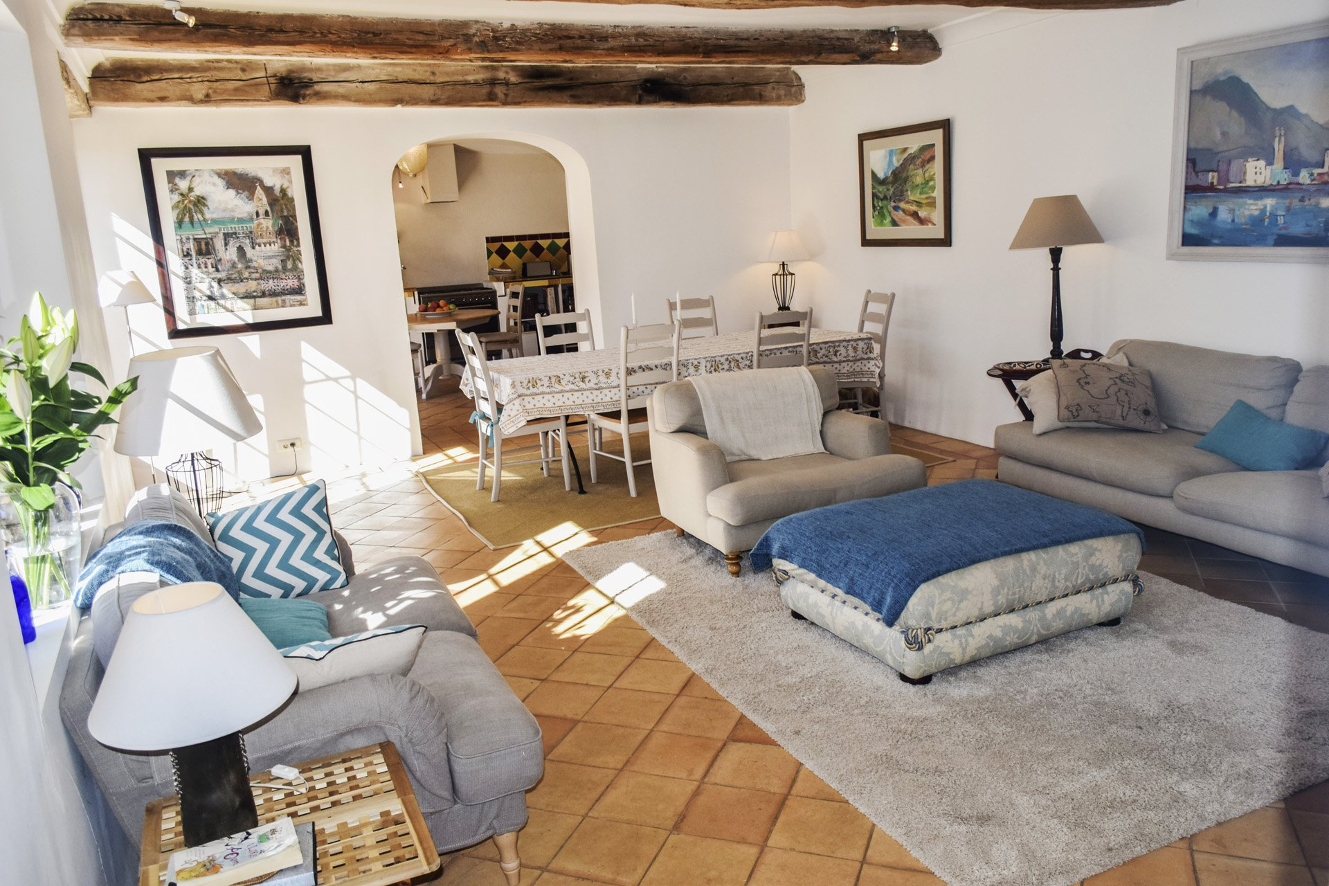 view to the kitchen old barn renovated on 8 ha, isolated aups var provence verdon
