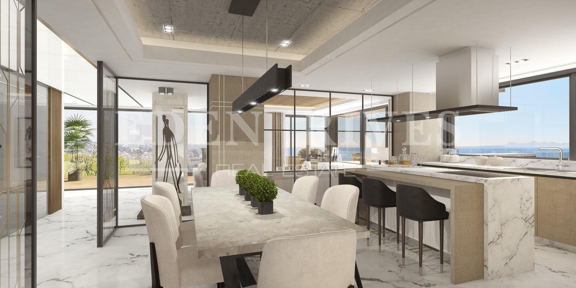 Stainless steel, natural light, kitchen bar