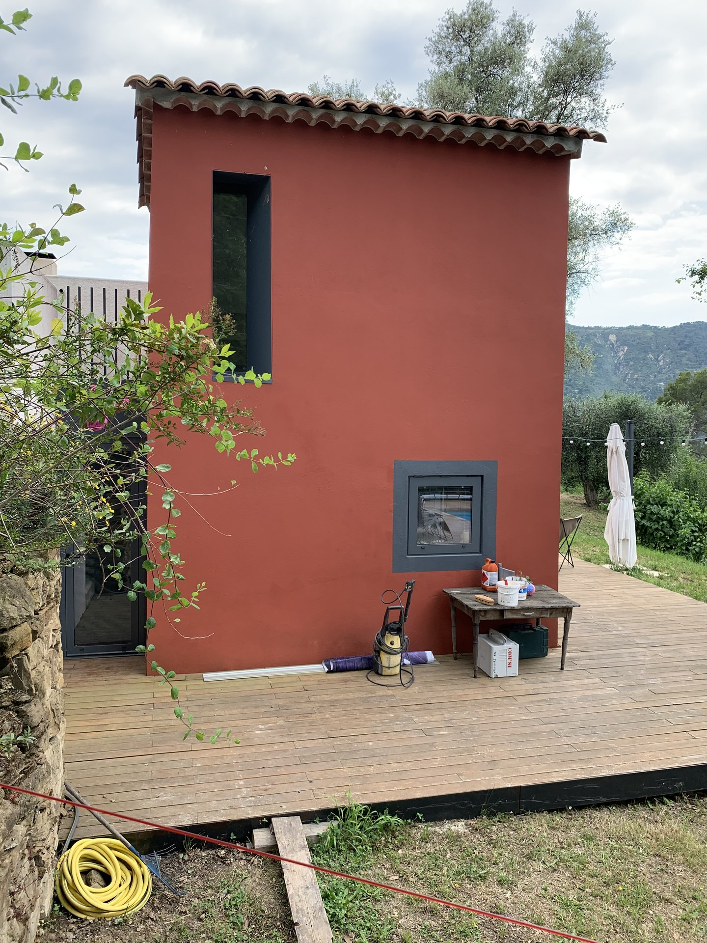 contemporain - rurale, campagne, piscine, terrain, oliviers