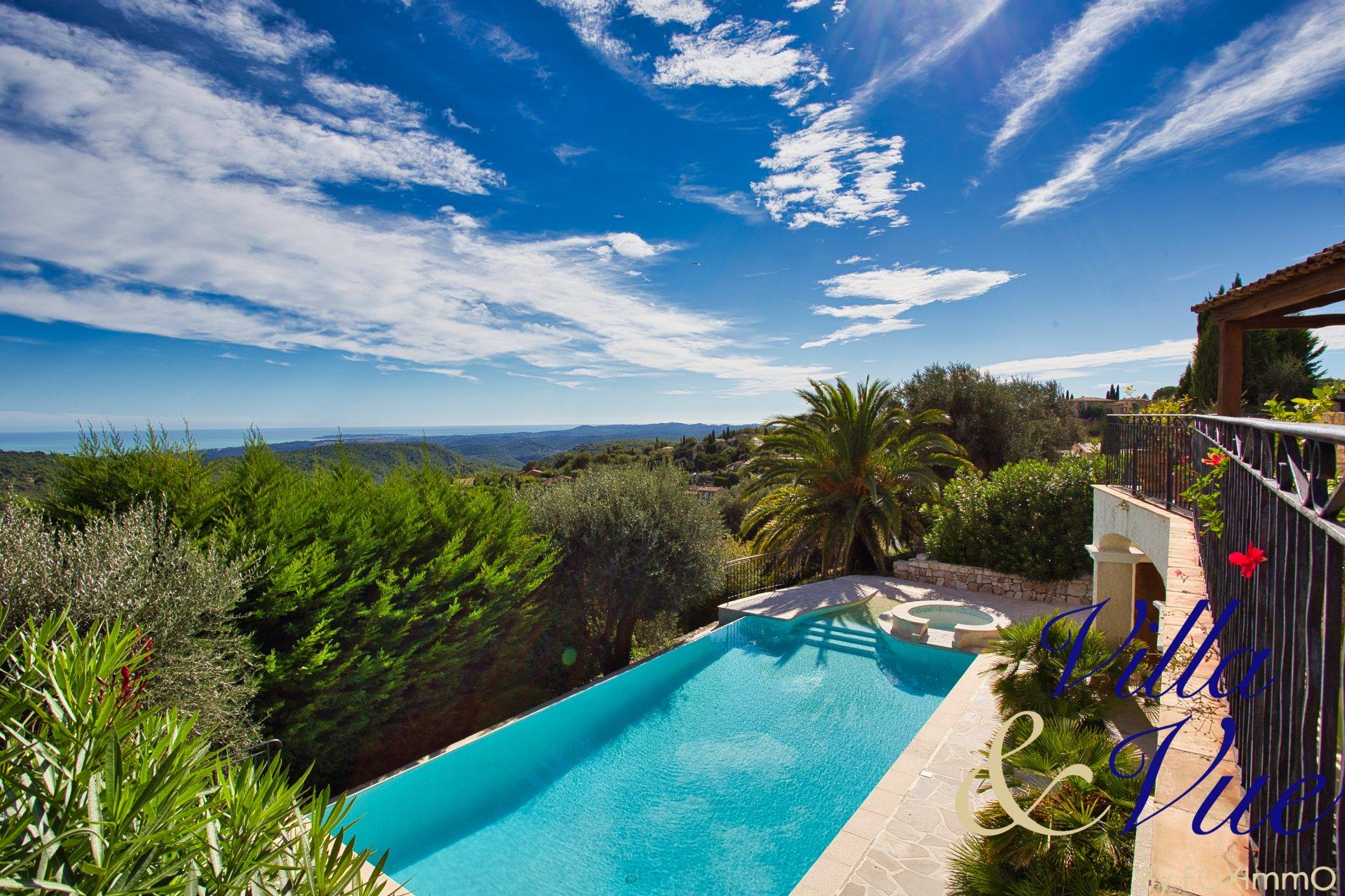 Villa en pierre 300 m² limite Vence 9P 5 chbres vue exceptionnelle et panoramique sur la mer