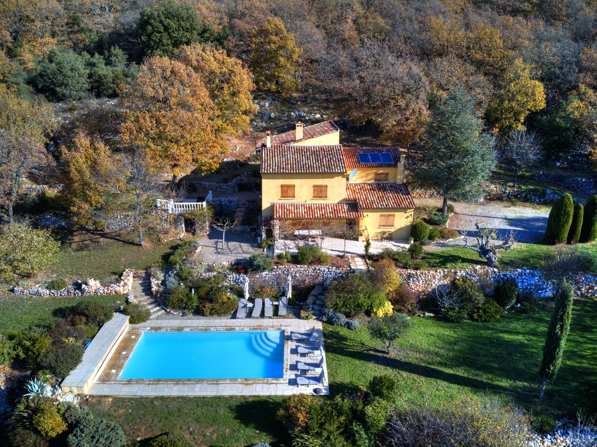 Aerial view of property for sale in Montmeyan Var Verdon