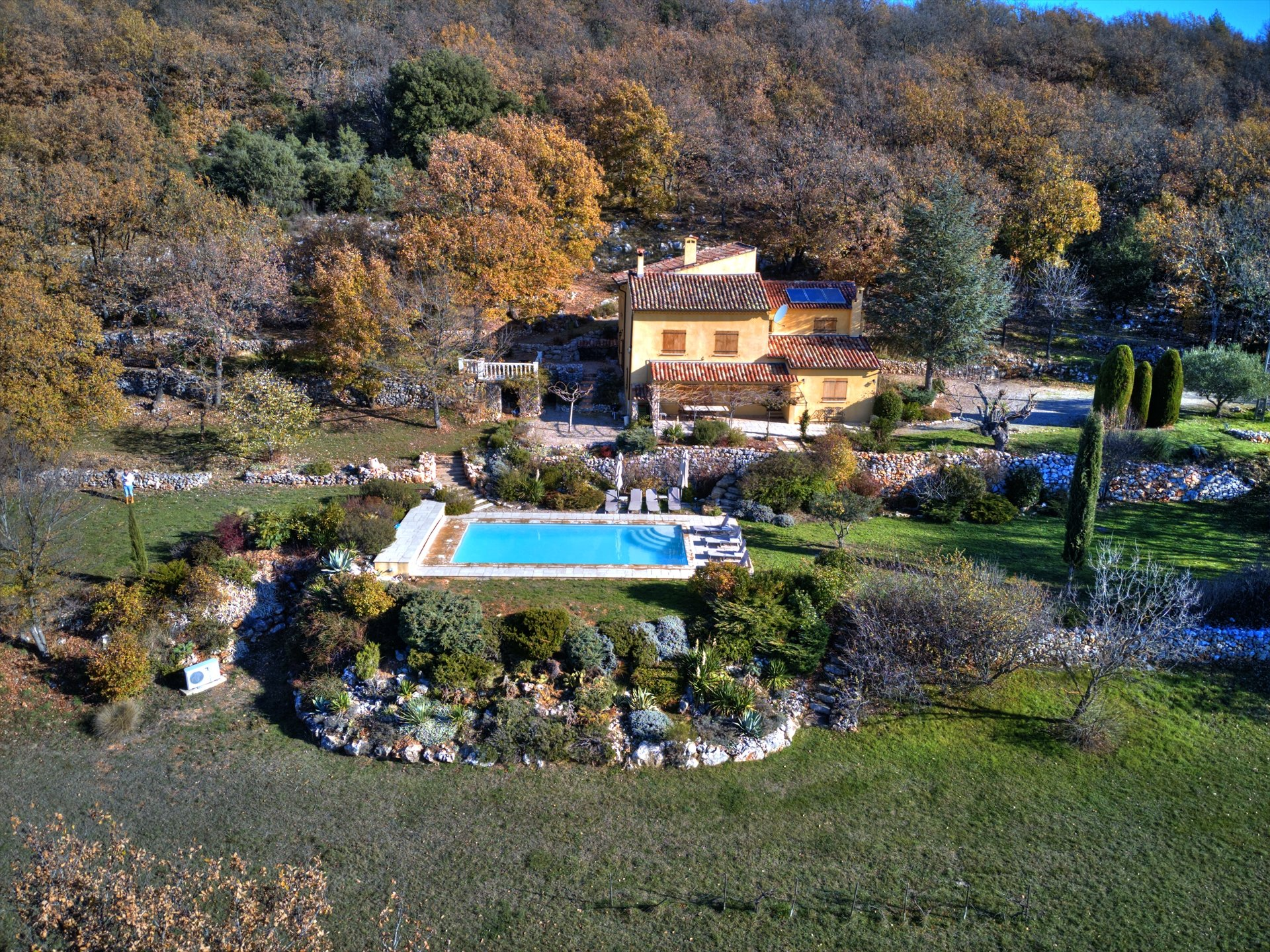 Aerial view of the house with garden