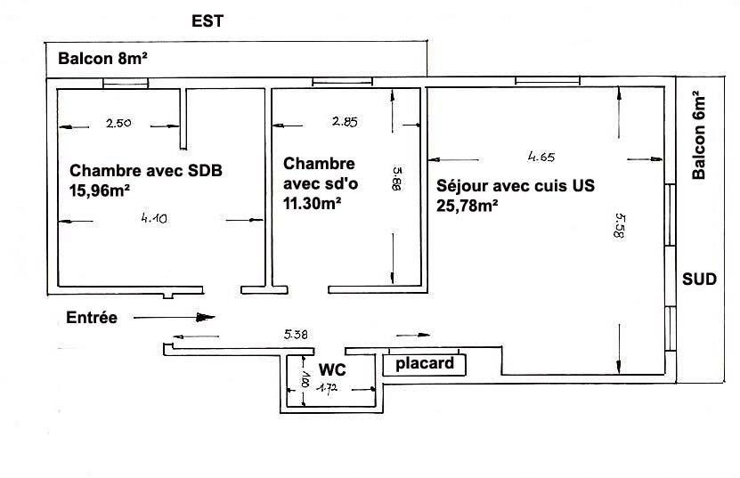 St-André de la Roche 3P 60m² + balcons DERNIER ETAGE