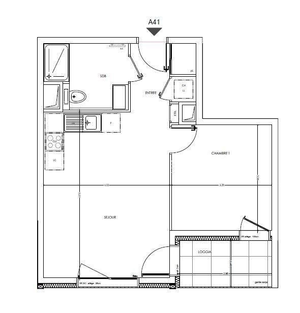 Appartement T2 au 4ème étage