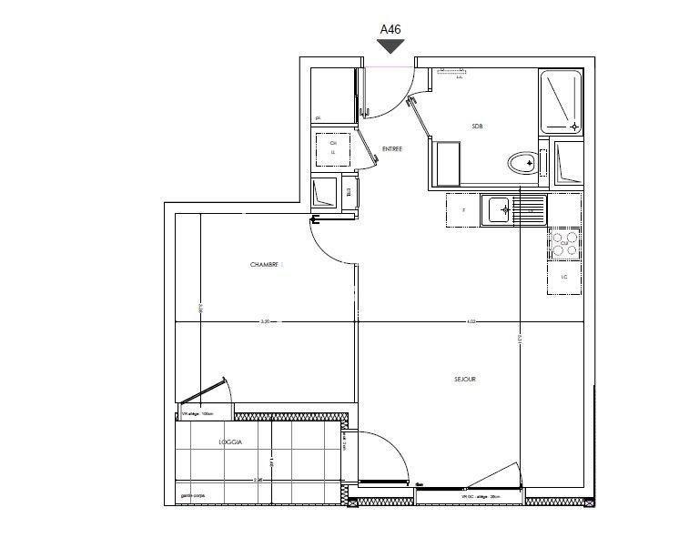 Appartement T2 de 41.68 m²