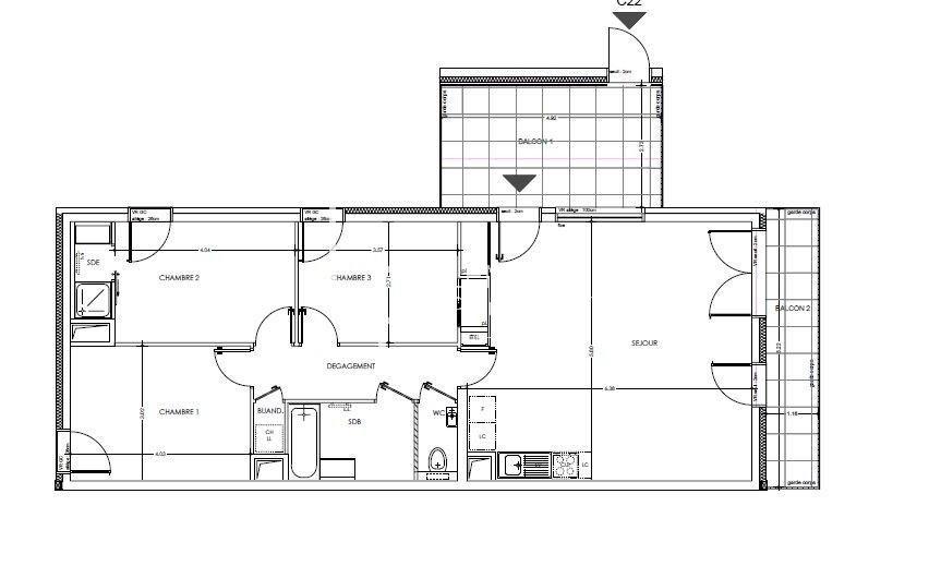 Appartement T4 au 2ème étage
