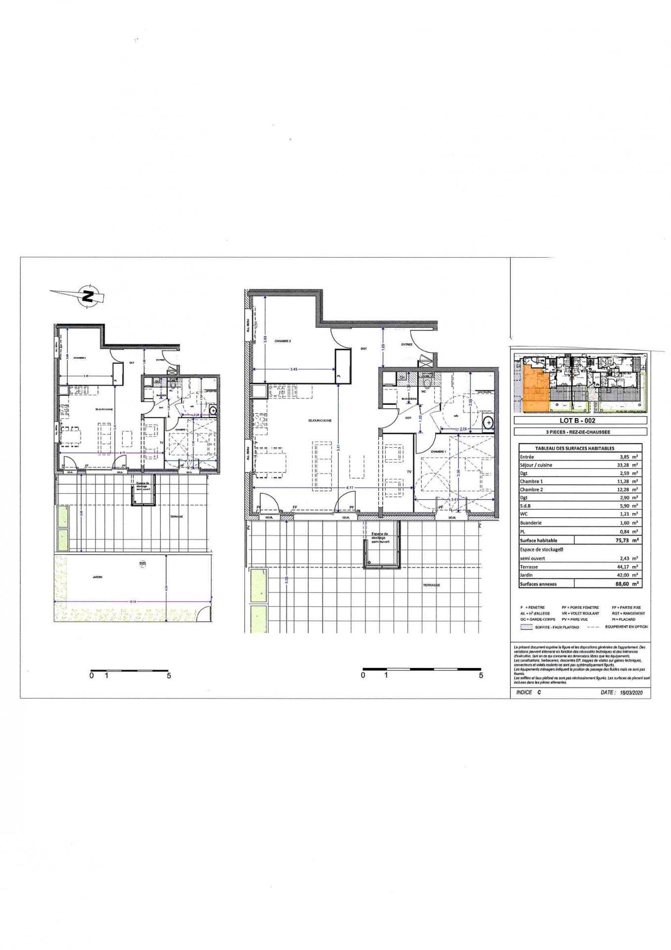 T3 76 m² rdj  avec  garage et parking