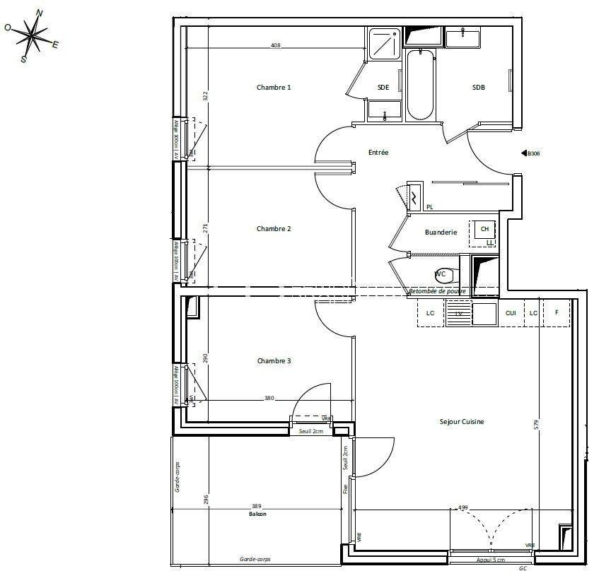 Appartement T4 au 3ème étage