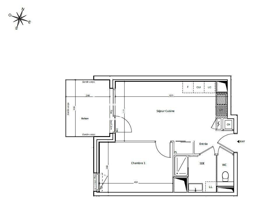 Appartement T2 au 3ème étage