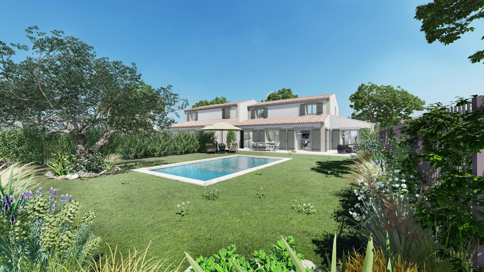 maison neuve piscine jardin