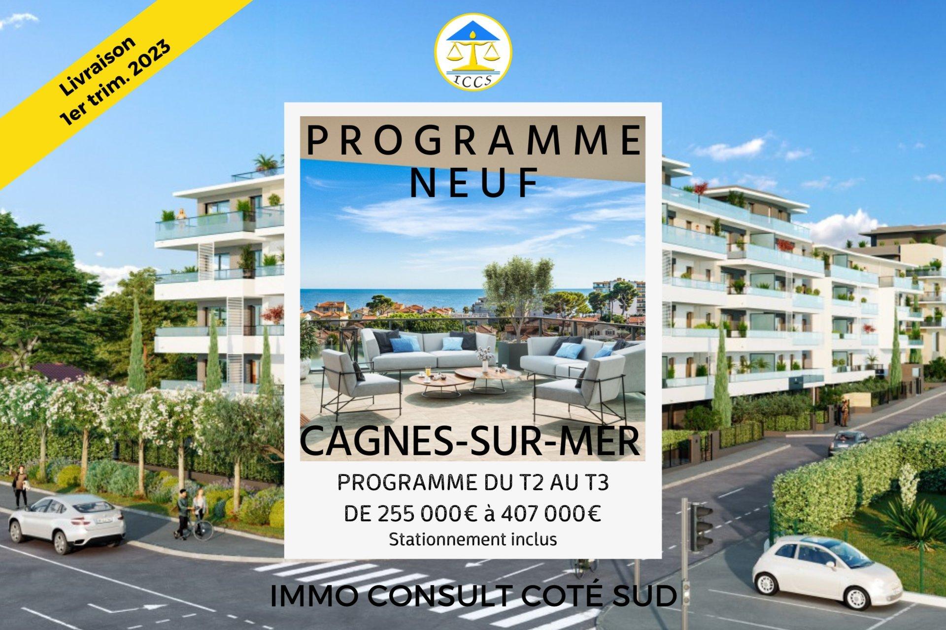 Beau T3 d'angle avec 3 parkings et terrasse - Cagnes-sur-Mer