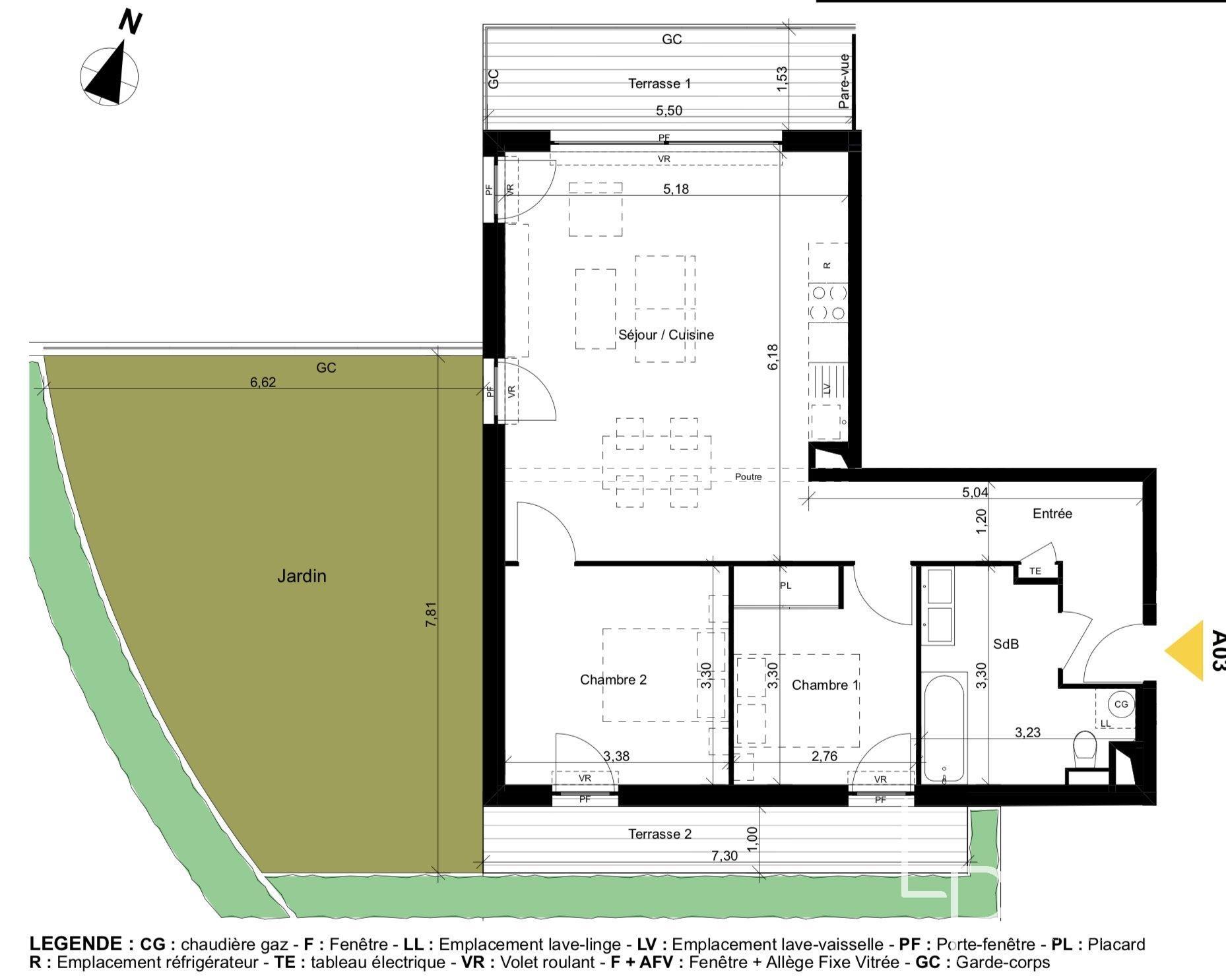 appartement de 67.34 m2 comprenant 3 pièces