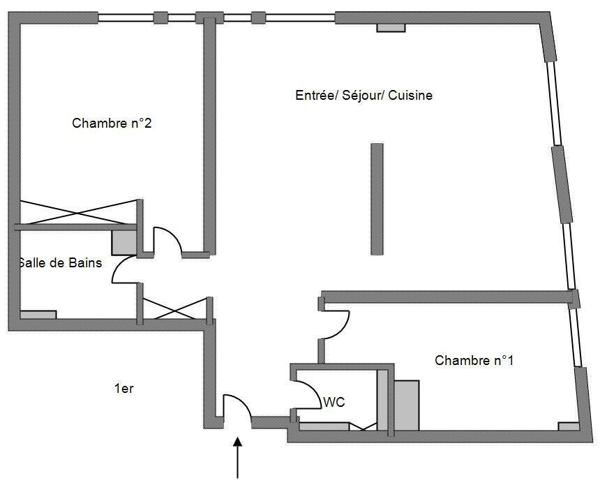 Achat Appartement, Surface de 63 m²/ Total carrez : 63 m², 3 pièces, Paris 18ème (75018)