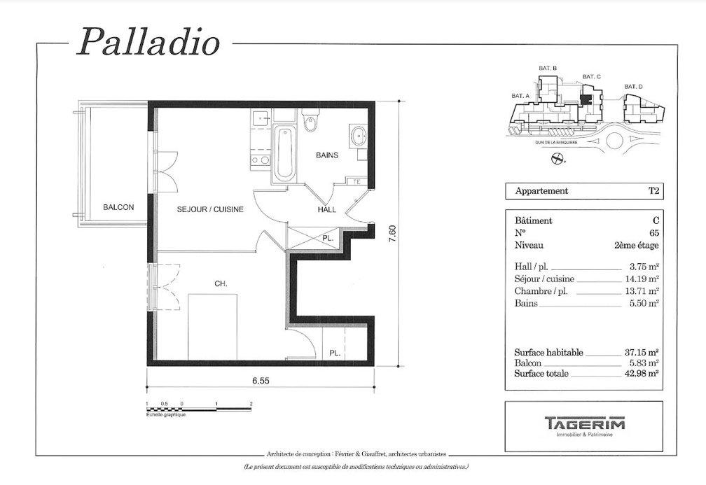 Beau 2 pièces de 37m² + Balcon + 1 place de parking