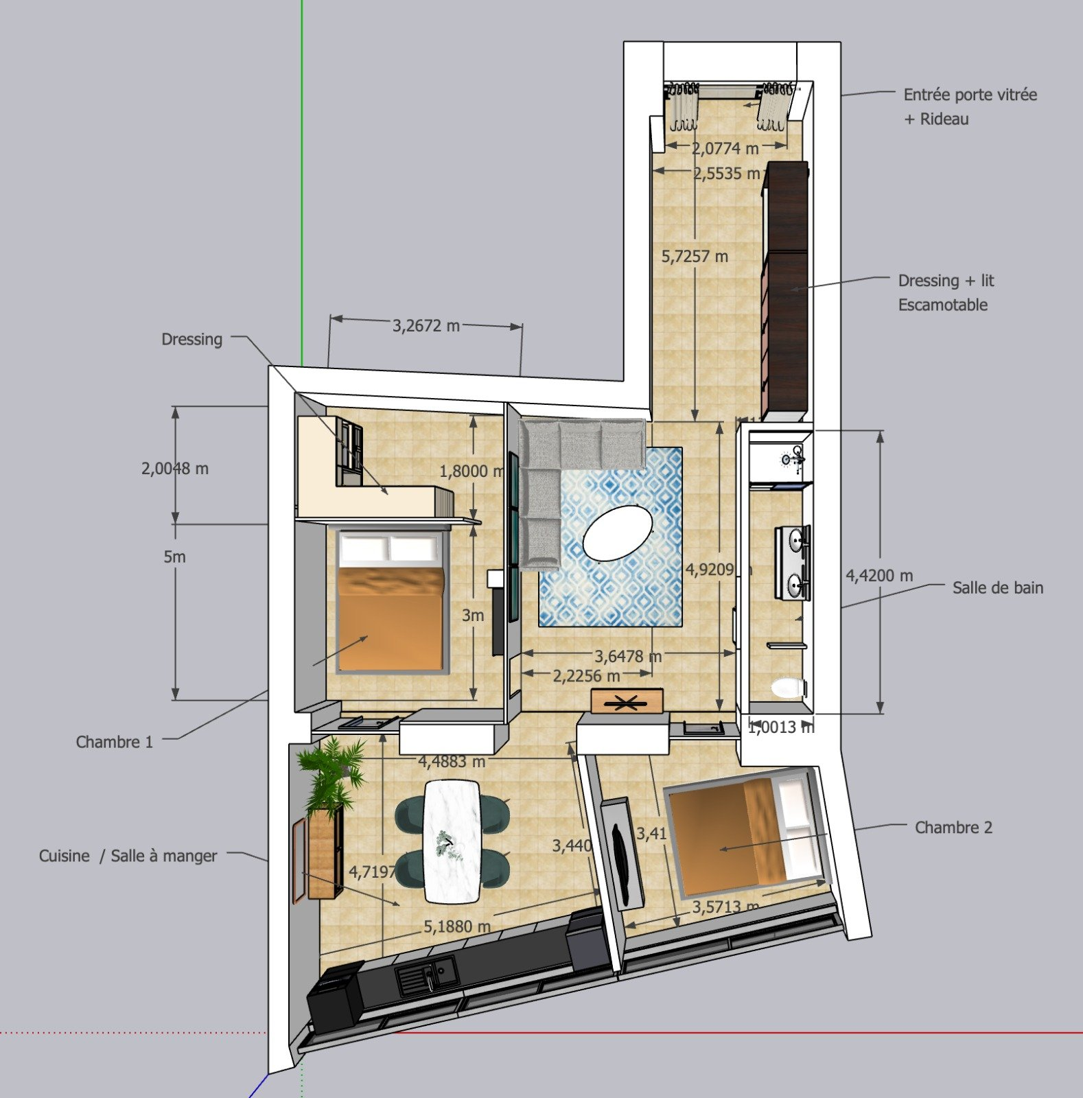 2-BR apartment plan