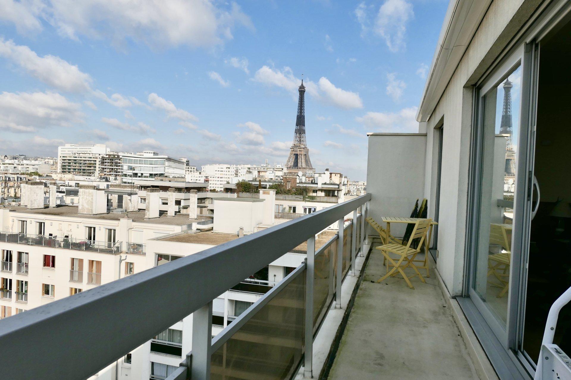 2 pièces - Terrasse - Dernier étage - Vue Tour Eiffel