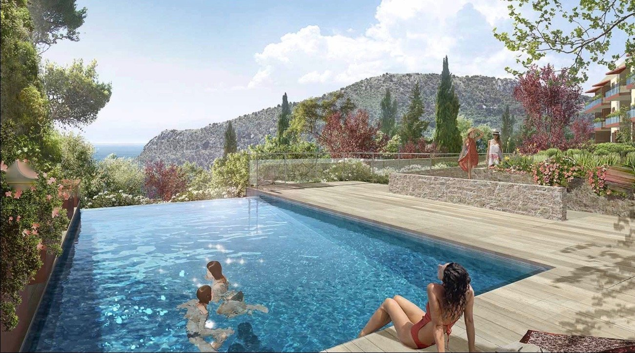 EZE Village - 3 bed Apartment - Top floor - Sea view - Swimming pool