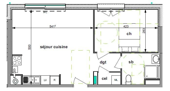 Appartement T2 dans résidence neuve de standing idéalement située dans le Vieux BIHOREL