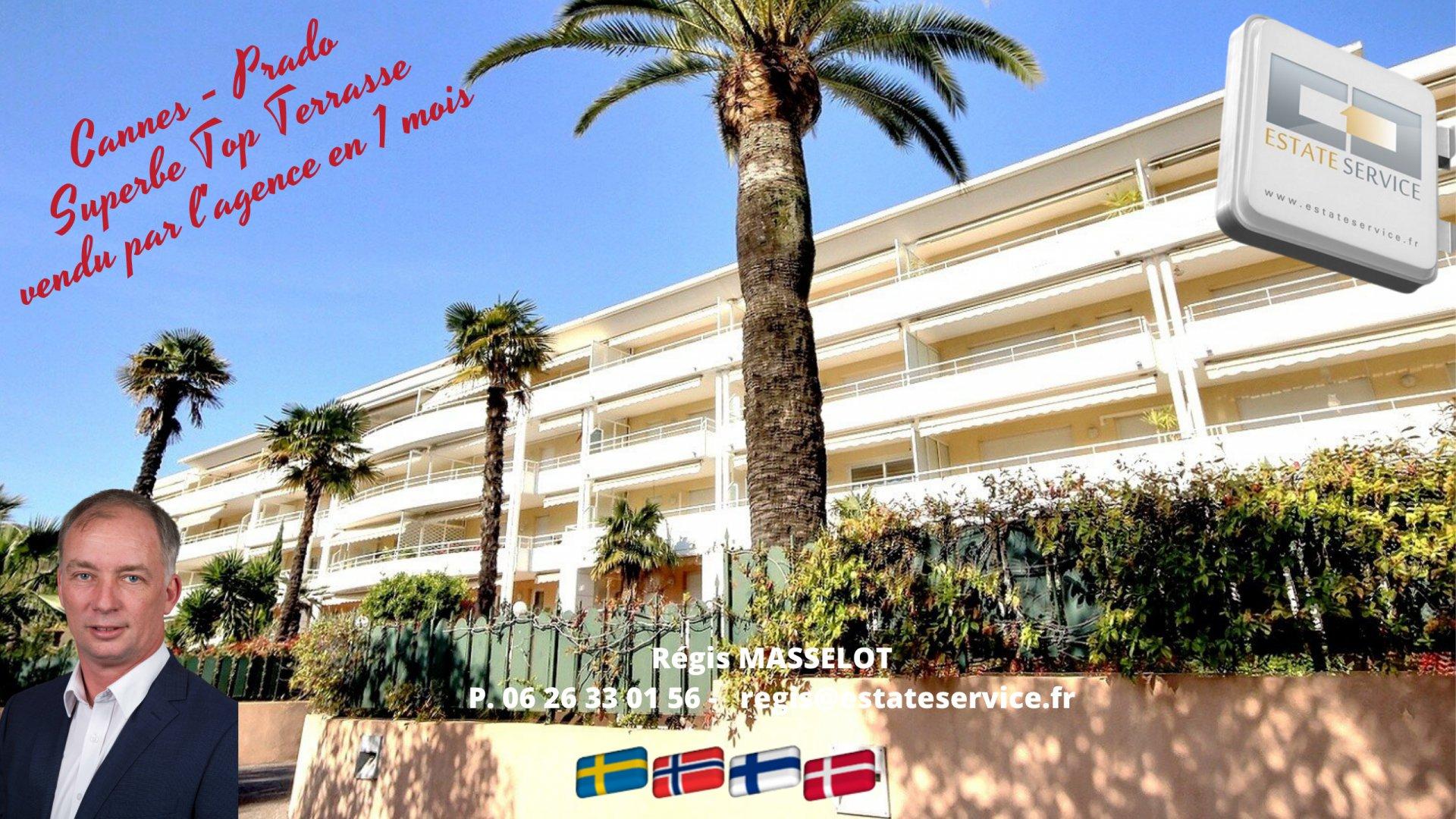 Cannes dans une Résidence de Standing et au dernier étage appartement de 3 pièces à vendre